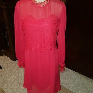 BEAUTIFUL  SHEER RED SHEER LACE DRESS